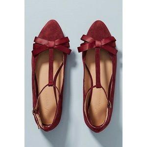 Anthropologie | T Strap Bow Ballet Flats